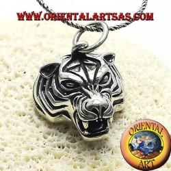ciondolo testa di tigre in argento