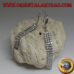 Pendant silver earrings with triple mini tennis scaled with white cubic zirconia