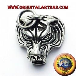 la cabeza colgante de plata del tigre