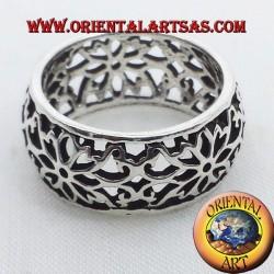 Ring perforiert Blume Stirnband gewölbt Silber