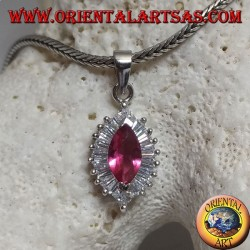 Silver pendant with synthetic shuttle ruby set surrounded by baguette and round cubic zirconia