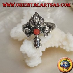 Silver ring with intersected Gantha and Dorje and ancient Tibetan round coral