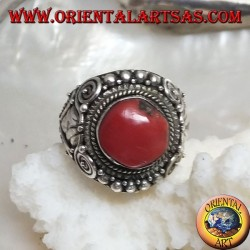 Silver ring with ancient Tibetan fossil coral and handmade ethnic decorations