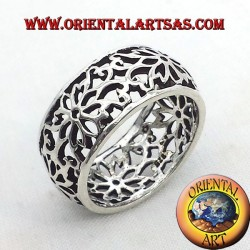 ring perforated flower headband domed silver