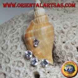 Boucle d'oreille grimpante en argent (grimpeur) avec lobe en zircon et éventail avec trois derniers zircons ronds