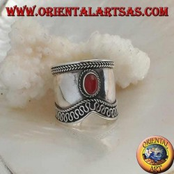 Wide band silver ring with oval carnelian and V-shaped serpentine contour, Bali