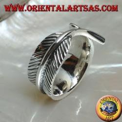 Серебряное кольцо в форме пера, символ очищения (большой)