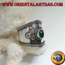Wide band silver ring with oval green agate and spiral triskéll, Bali
