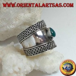 Wide band silver ring with oval green agate and contour serpentine, Bali