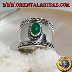 Wide band silver ring with oval green agate and outline weaving, Bali