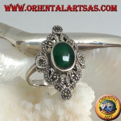 Silver ring with oval green agate on a perforated rhomboid setting studded with marcasite