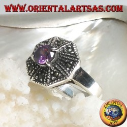 Octagonal silver ring with round amethyst and marcasite colored zircon