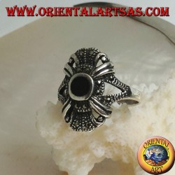 Silver ring with round onyx on an imperial style setting studded with marcasite