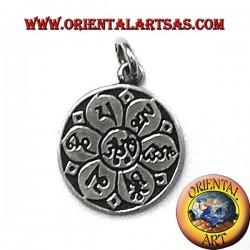ciondolo om nel fiore di loto con sanscritto in argento