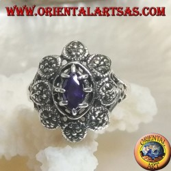 Silver flower ring with central shuttle amethyst-colored zircon and marcasite petals