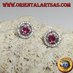 Silver earrings with embedded synthetic ruby and removable zircon disc (double use)