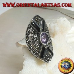 خاتم من الفضة المكوك مرصع بماركسيت مع صليب أونيكس وجمشت بيضاوي طبيعي مركزي