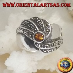 Silver ring with round yellow topaz and concentric spiral marcasite rows