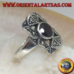 Silver ring with round natural garnet in a perforated rectangle with marcasites