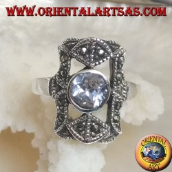 Silver ring with round celestial zircon in a perforated rectangle with marcasites