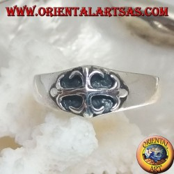 Silver ring with lily cross (symbol of the French dynasties) in high relief