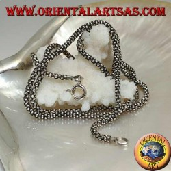 925 ‰ silver necklace with a 62 cm x 3 mm x 3 mm round groumette link