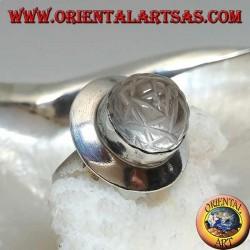 Silberring mit Sri Yantra Mandala auf einem runden Bergkristall und glatter Fassung...