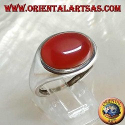 Silver ring with a horizontal oval cabochon carnelian
