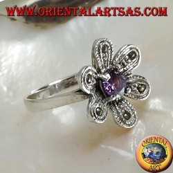 """Silver ring in the shape of a flower """"star of bethlehem"""" with round amethyst and marcasite colored zircon"""