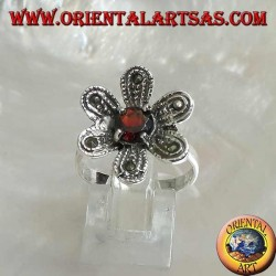 """Silver ring in the shape of a flower """"star of bethlehem"""" with round natural garnet and marcasite"""