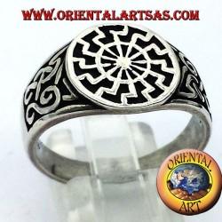 plata anillo de sello sol negro