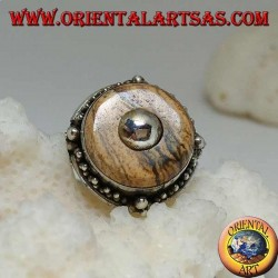 Silver ring with country jasper disc and central ball