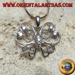 Silberner Schmetterlingsanhänger mit stilisierten Flügeln mit einer dünnen und perforierten Linie mit runden Zirkonen