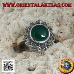 Silver ring with round green agate surrounded by marcasite arranged in a vortex