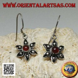 Silver flower earrings with six petals with central handmade carnelian