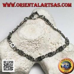 Мягкий серебряный браслет с бляшками с гравировкой, чередующийся с кольцами
