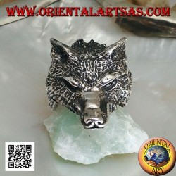 Silberring, arktischer Wolfskopf oder massiver Schneewolf (groß)