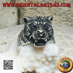 Bague en argent massif avec grande tête de tigre saillante proéminente