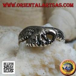 Anello in argento, aquila sorvolante in perlustrazione (piccola)