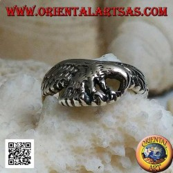 Silver ring, patrolling eagle (small)