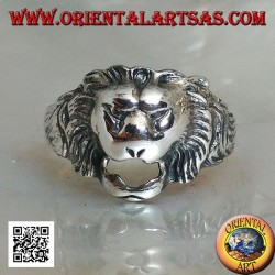 Silver ring, small stylized lion head