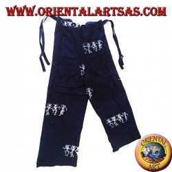 Long unisex blue sea pantapareo with white designs of dancing natives