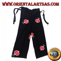 Long unisex black sea pantapareo with red and white ladybug designs