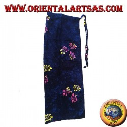Blue pareo skirt with warm color drawings of turtles