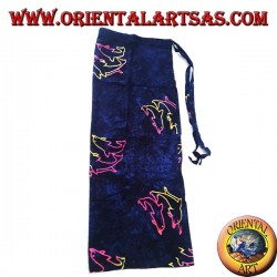 Blue sarong skirt with warm color trio of dolphin designs