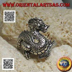 Bague en argent, dragon Lindworm (mythologie nordique) moustachu
