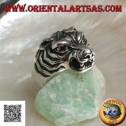 Protruding tiger head silver ring with large garnet eyes