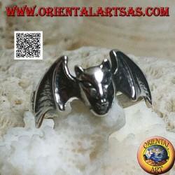 Anello in argento, testa del diavolo con ali del pipistrello