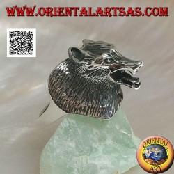 Anello in argento, testa di lupo cecoslovacco a tre quarti (grande)