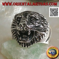 Silver ring growling tiger head with mustache
